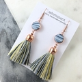 Polymer clay tassel earrings with rose gold plated earring hooks - blue yellow