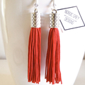 Burnt Orange Vintage Tassel & Swarovski Earrings | Boho Style | Vintage Tassels