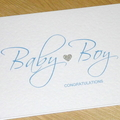 Baby Girl / Baby Boy congratulations card with silver heart - pink or blue