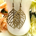 Large Bronze Leaf Earrings, Boho Style