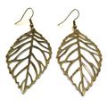 Large Bronze Leaf Earrings, Boho Style