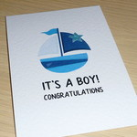 Baby Boy Card - blue boat