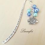 Bookmark - Fish - Blue - Pearls - Antique Silver - BM062