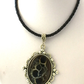 Genuine Septarian - Mud Crack Fossil Cabochon Pendant, Leather Necklace.