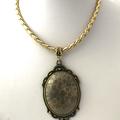 Fossilised Coral Cabochon Genuine Gemstone, Pendant Leather Necklace.