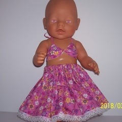 Dolls clothes bikini top and skirt for Baby Born