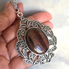 Genuine Tiger's Eye Gemstone Pendant, Leather Cord Necklace.