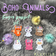 Boho Animals Finger Puppet Set