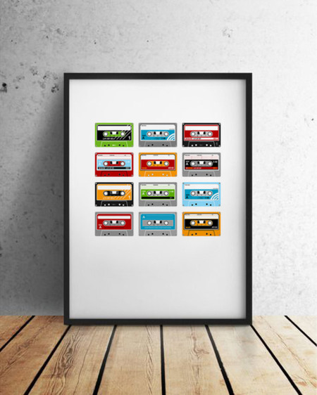 Mixtape retro - Cassette tape grid, A4 art print (also available in other sizes)
