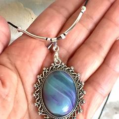 Genuine Banded Agate Gemstone Blue-Violet Pendant Leather Necklace.