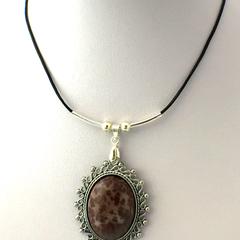 Genuine 'Lizard Skin' Jasper Cabochon Pendant Leather Necklace.