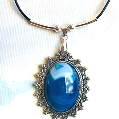 Genuine Banded Agate Gemstone Ocean Blue  Pendant Leather Necklace.