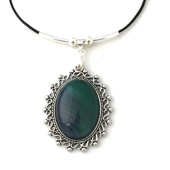 Genuine Banded Agate Gemstone Green Pendant Leather Necklace.
