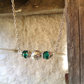 Unique Green Crystal Bar Necklace, For Her