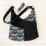 Hobo Shoulder Bag in Black Canvas and Echinacea Floral Fabric & Matching Key Fob