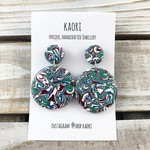 Handcrafted polymer clay stud dangle earrings in aqua green swirl