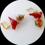 Glass. Red bird earrings