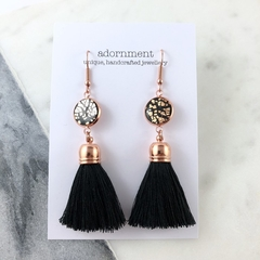 Polymer clay tassel earrings with rose gold plated earring hooks - Black