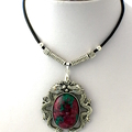 Genuine Ruby in Zoisite Gemstone, Dragon Theme Pendant, Leather Necklace.