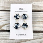 Handcrafted polymer clay hexagon dangle earrings- midnight blue floral