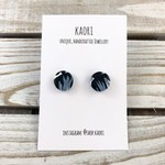 Handcrafted polymer clay stud earrings- midnight blue floral