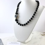 Black Crystal and gold plated Agate Semi Precious Gemstone Beaded Necklace