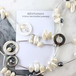 Mother of pearl, shell, freshwater pearl and crystal long necklace