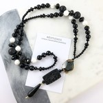 Black Crystal, Onyx and Agate Semi Precious Gemstone Beaded Lariat Necklace