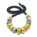 Speckled Egg Ceramic Beads on Kimono Cord - Mustard and Blue