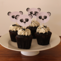 Panda Birthday Custom Made Panda Face Cupcake Toppers Decoration Set of 12