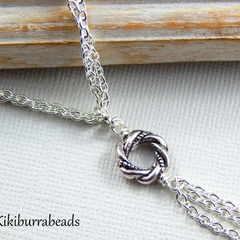 Love Knot Necklace silver tone