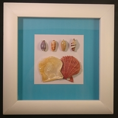 White Shadow Box Seashell Feature Frame Art Decor