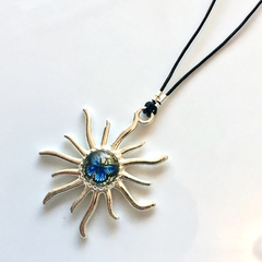 Fantasy Mini-Blue Butterfly Cabochon Dome, Silver Sun Pendant Necklace.