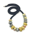 Speckled Egg Ceramic Beads on Kimono Cord - Mustard and