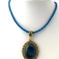 Genuine Blue Agate Gemstone, Gold tone Pendant, Blue Leather Necklace.