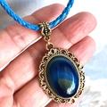 Genuine Blue Agate Gemstone, Gold tone Pendant, Blue Leather Necklace.