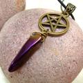 Bronze Pentagram and Quartz Choker Necklace, Gemstone Necklace