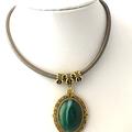 Genuine Green Agate Gemstone, Gold tone Pendant, Silk Cord Necklace.