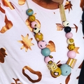 """The Red Essy """"Musk Stick"""" hand-painted wooden necklace"""