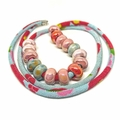 Speckled Egg Ceramic Beads on Kimono Cord - Ruby, Aqua and Pink