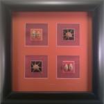 Seashell Feature Frame Picture Original Art Beach Home Decor Shadow Box (Orange)