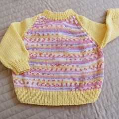 SIZE 1- 2 - Hand knitted jumper: Girl, washable, warm
