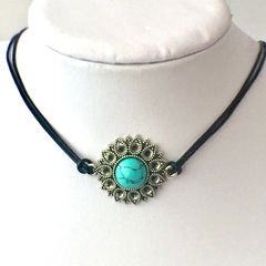 Custom order: Gemstone on Silver Flower Pendant, Leather Choker/Necklace.