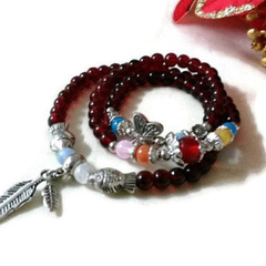 Bohemian Burgundy Red Wrap Bracelet with Feather Charms