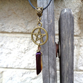 Bronze Pentagram and Quartz Choker Necklace, Gemstone Necklace