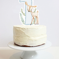 First Birthday Cake Topper - Woodland Deer with number One and foliage. Fawn.