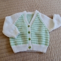 SIZE 1 - Hand knitted cardigan in pastel green & white : Washable, unisex