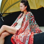 Red Silk Kimono Jacket, Plus Size Beachwear Bikini Cover Up