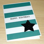 Male Happy Birthday card - green stripe