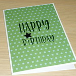 Male Happy Birthday card - green spots